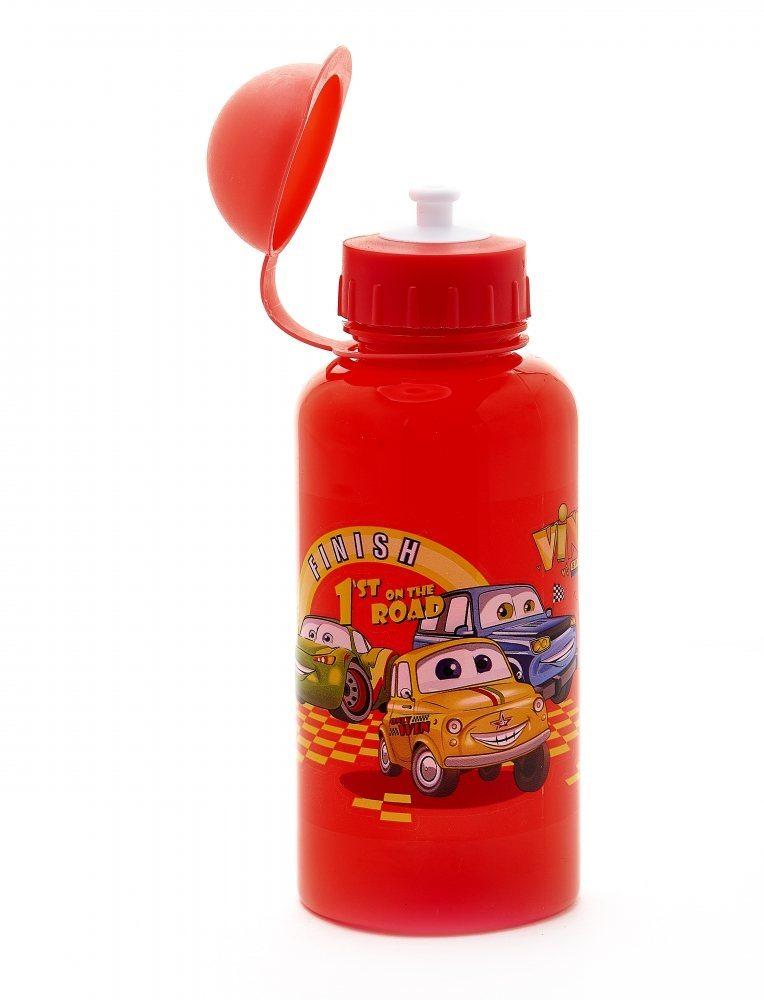 """Фляга детская с защитой от пыли 500мл, красная, рисунок - """"машинки"""""""