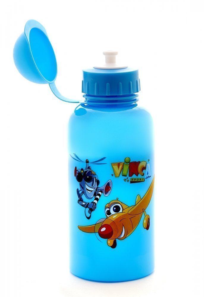 """Фляга детская с защитой от пыли 500мл, голубая, рисунок - """"вертолетики"""""""