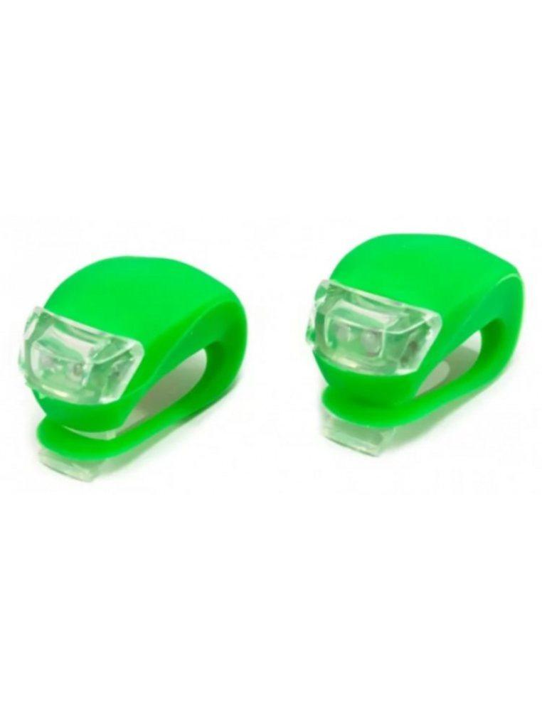 Фара XC-108, Пластик/силикон, комплект, 2 светодиода, 3 режима работы, цвет зеленый
